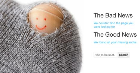 Un calcetín con hoyos es el mensaje de la aplicación Mashable.