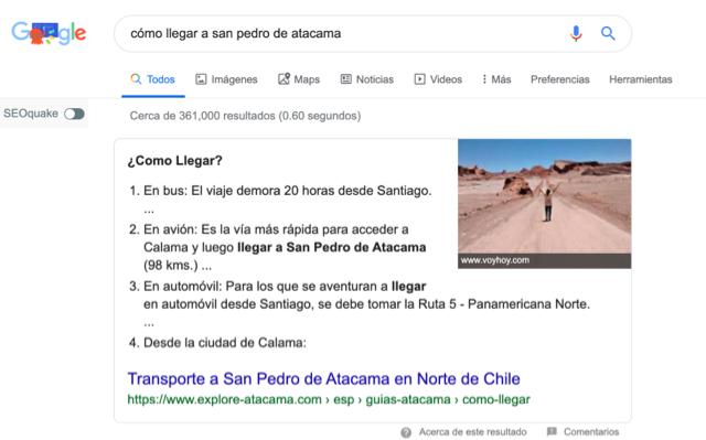 SERP de Google ante búsqueda de viaje