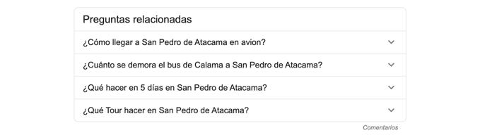 Preguntas relacionadas según Google