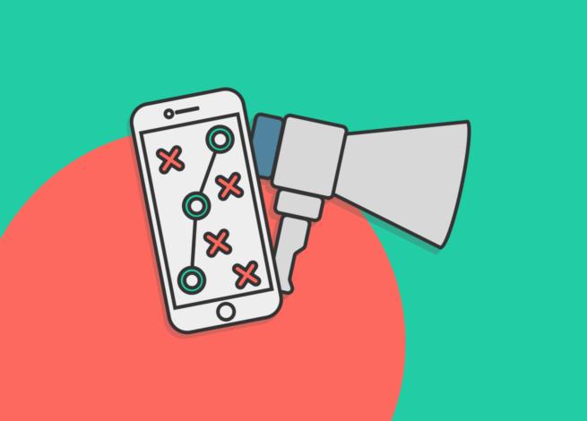 Esstrategia de comunicación Digital representado en un smartphone y estadísticas.
