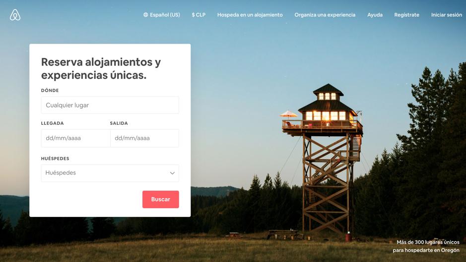 Ejemplo Hompage Airbnb.com