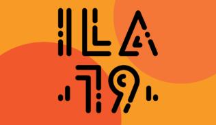 Sobre un fondo de colores naranjo, se presenta el logo del Interaction Latin America 2019.