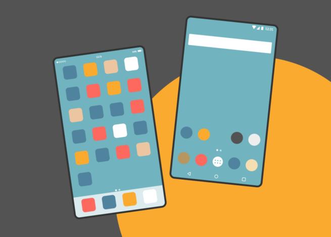 Comparación de interfaz iOS y Android en blog IDA.