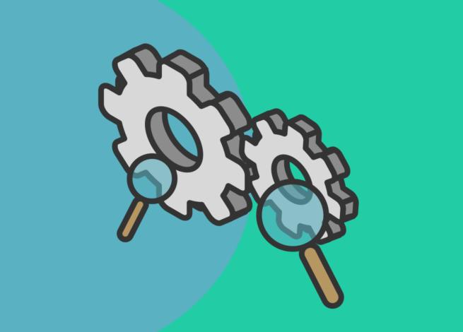 Dos engranajes y dos lupas, representan la importancia de la investigación Research Ops en las organizaciones. Blog IDA.