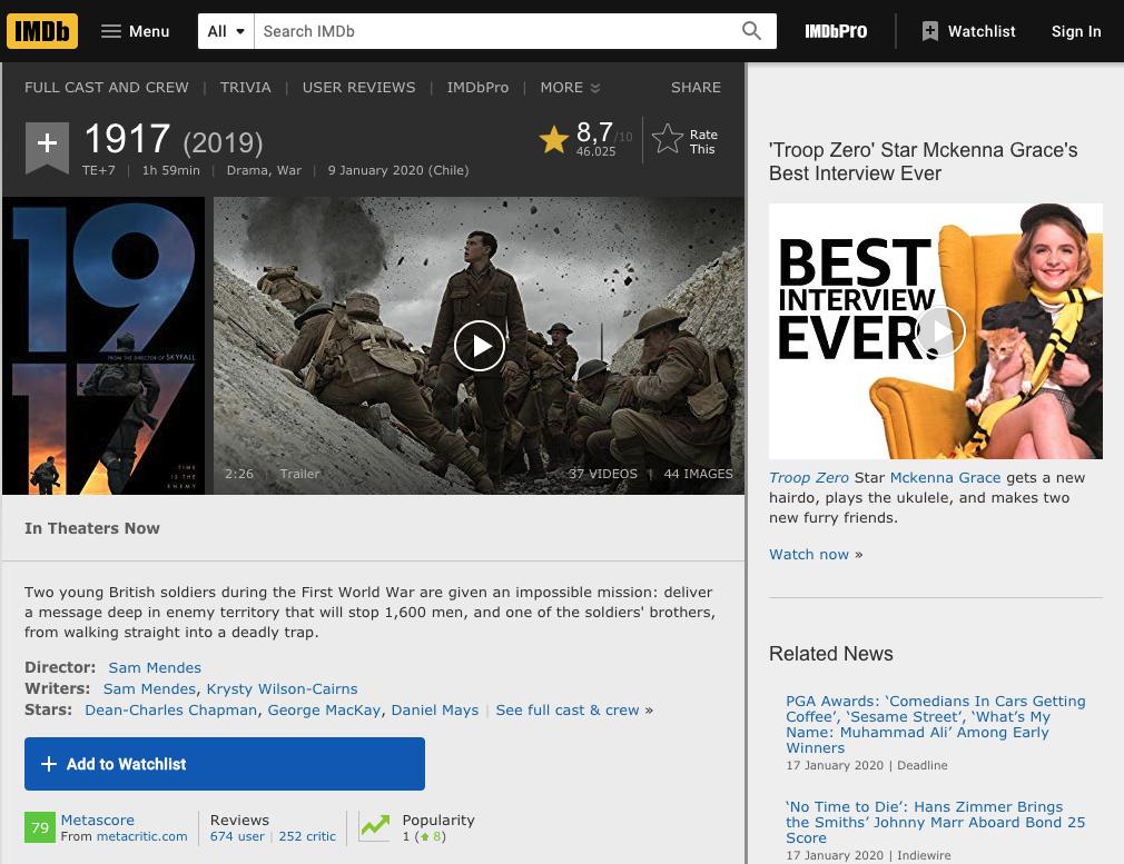Captura de pantalla de una ficha de película del sitio IMDB, que sirve como ejemplo de una unidad discreta en ese sitio