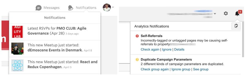 Ejemplo de notificaciones en los patrones de diseño de interfaz.