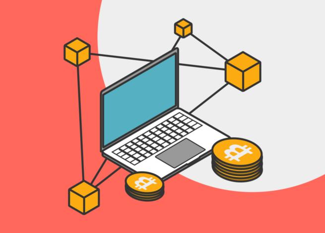 Un computador con redes y bitcoin representa el funcionamiento del Blockchain en el Blog IDA.