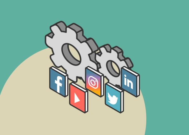 Dos engranajes entre los íconos de las redes sociales Facebook, Instagram, Twitter y más, representan la importancia de las herramientas de gestión de redes sociales en IDA.