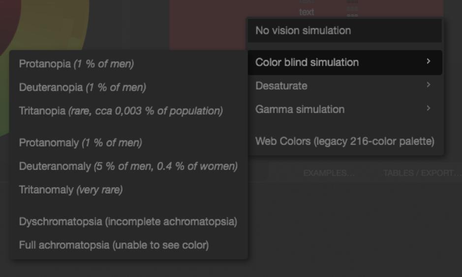 Opciones según tipo de ceguera en Paletton.