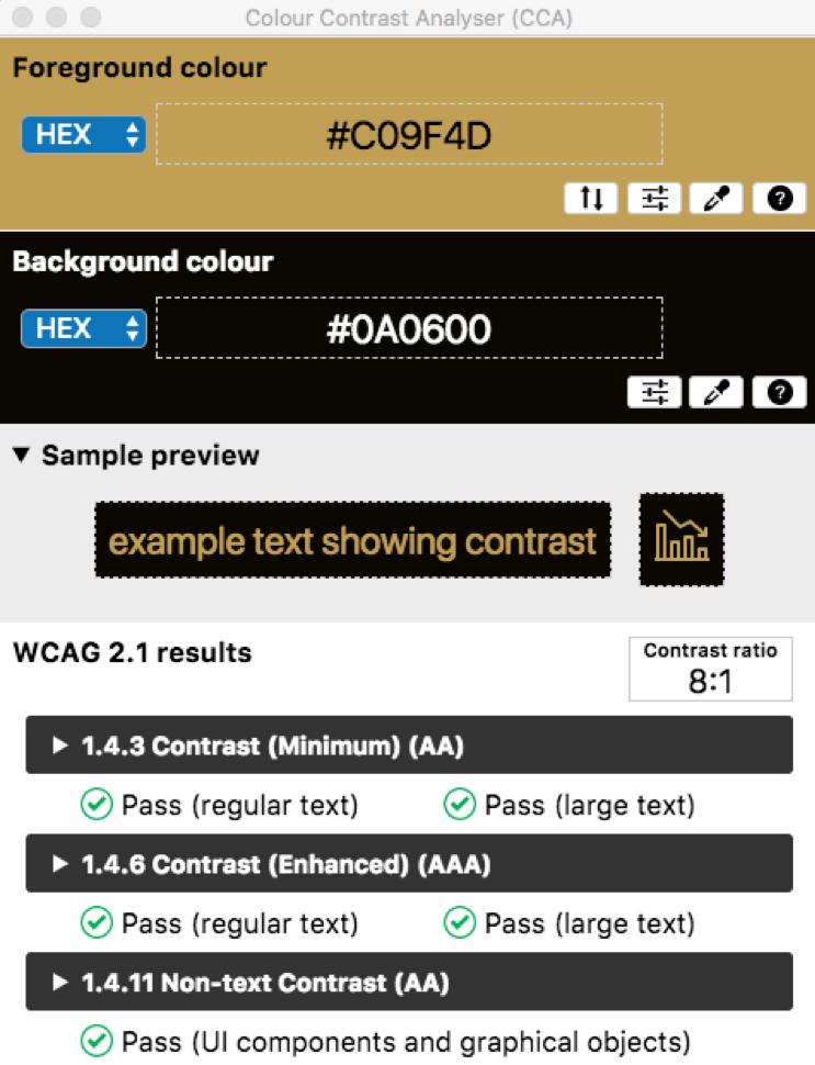 Ejemplo del uso de Colour Contrast Analyser (CCA) en Blog IDA.