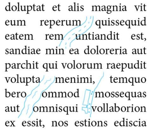 Ríos de blanco en los textos.