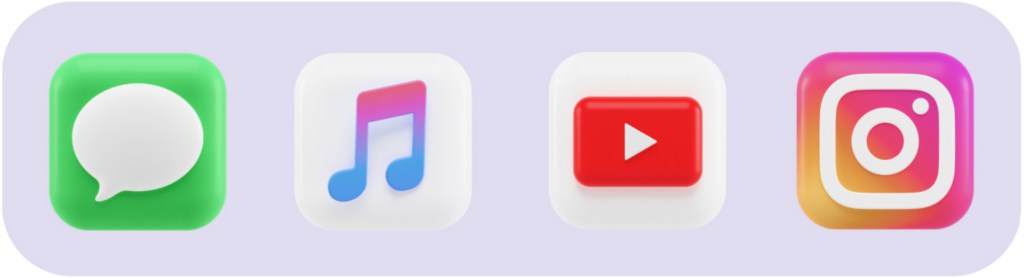 Iconos de mensajes, música, youtube e instragram con un diseño en 3 dimensiones