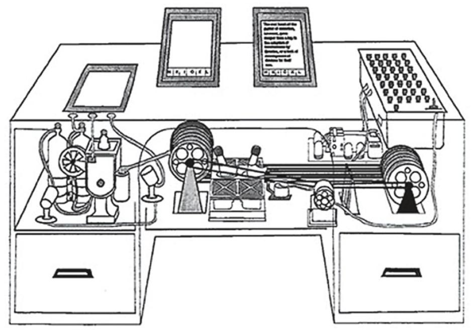 """Imagen del prototipo de Memex que Vannevar Bush publicó en el artículo """"As we may Think"""" para The Atlantis en julio de 1945."""