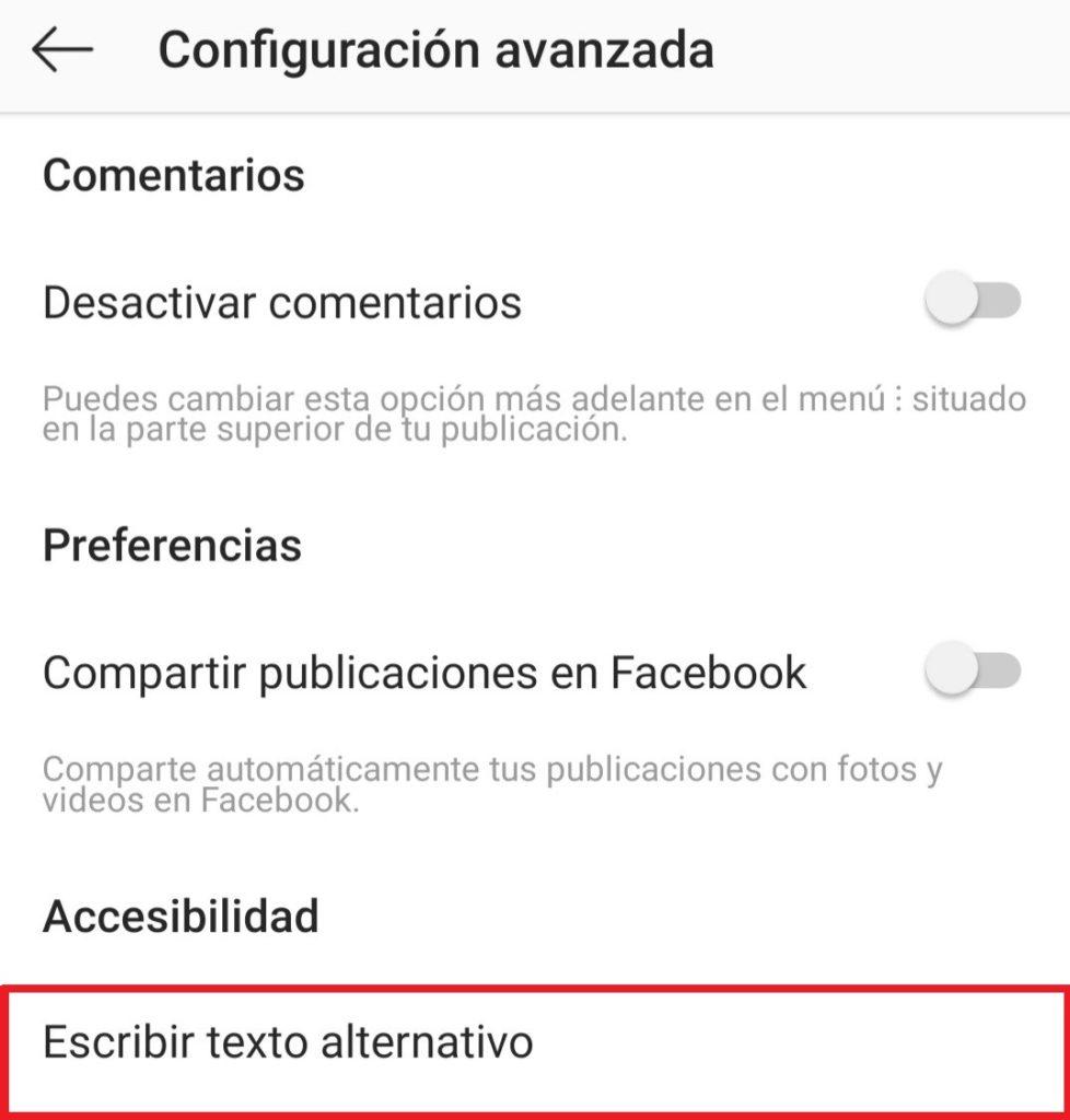 Cuadro de configuración avanzada de Instagram, con la ubicación del texto alternativo