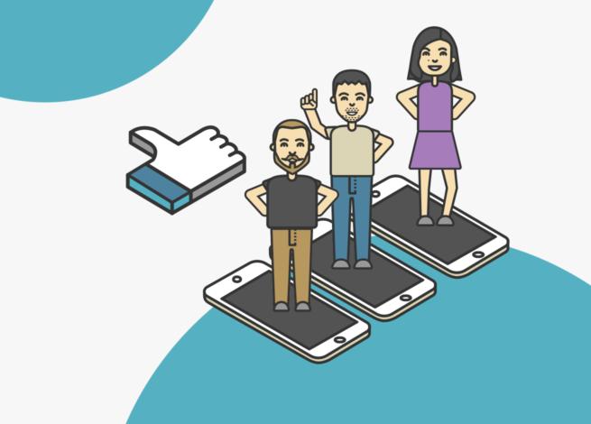 Tres personas dentro de un celular, representan el ambiente laboral del teletrabajo.