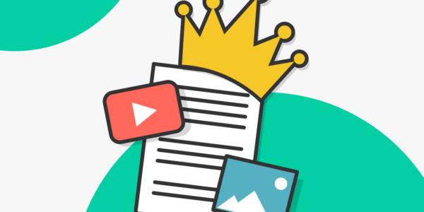 Hoja con texto que tiene un corona de rey y que en su interior tiene un icono de YouTube y otro de una imagen