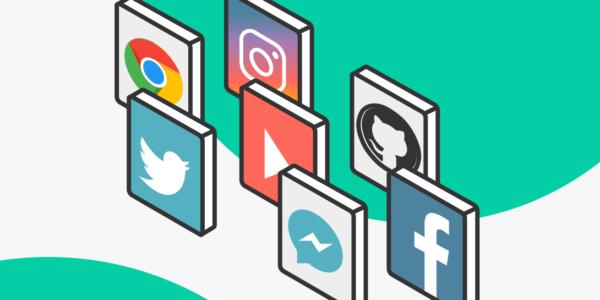 Iconos de diversas redes sociales y plataformas web con un diseño en 3D