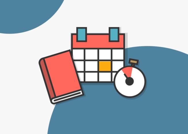 Una libreta, un calendario y un cronómetro, representan la organización a través de un calendario.