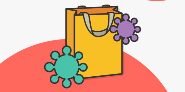Una bolsa representa cómo cambio el comportamiento de los consumidores durante la pandemia afectando el marketing digital.