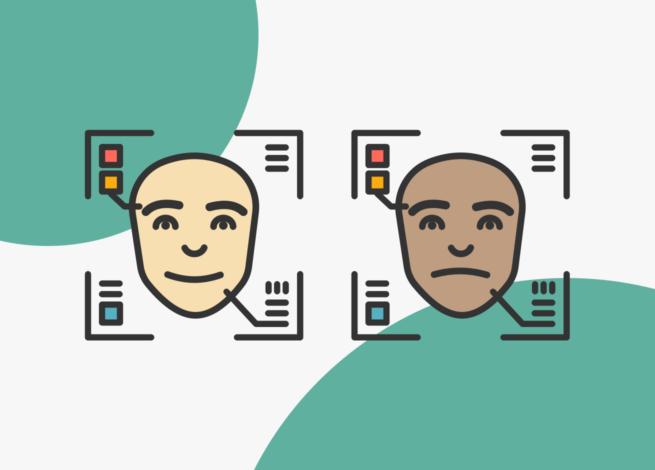 Dos caras, feliz y triste, de test oscuras y blanca, representan el racismo tras las inteligencias de reconocimiento facial.
