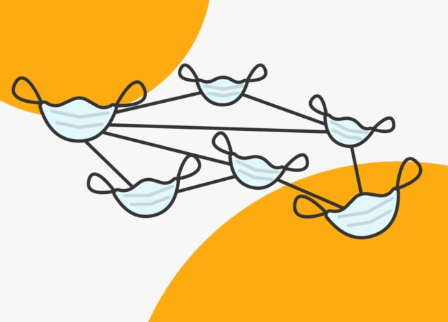 Varias mascarillas enlazadas representan a las aplicaciones de seguimiento de contagios en Blog IDA.