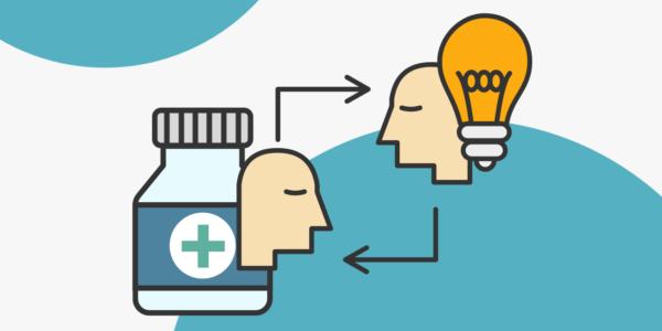 dos cabezas: la primera ligada a la medicina, la otra a la tecnología se unen a través de intersecciones