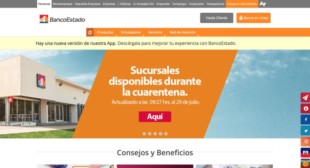Homepage de Banco Estado donde se ve la fecha de actualización de los contenidos relacionados al Covid-19.