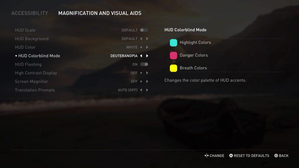Opciones de color y visibilidad en The Last of Us part II.