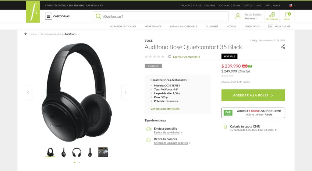 Ficha de producto de Falabella, con los audífonos a la izquierda y botones de compra a la derecha.