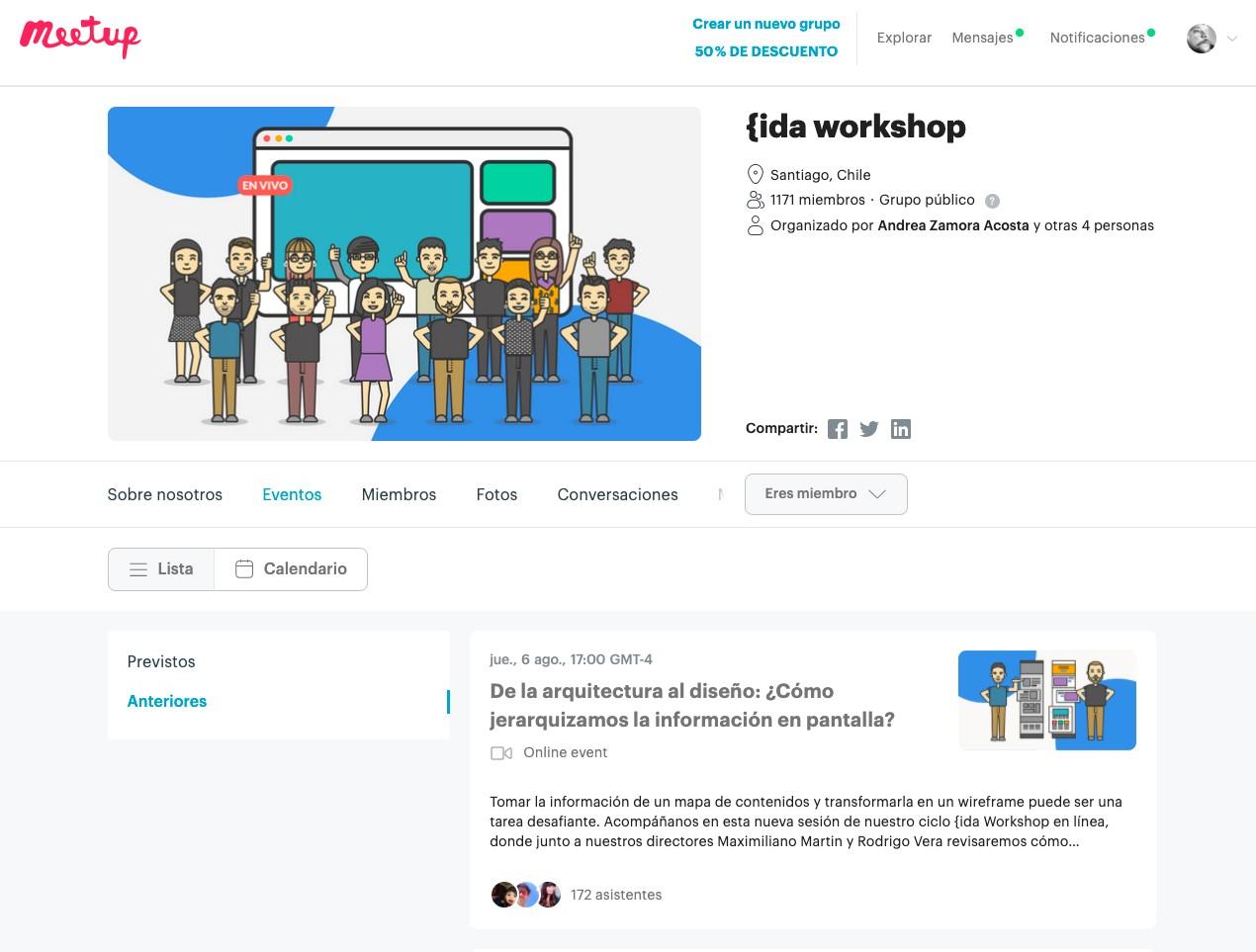 Compartiendo contenido con nuestra comunidad en MeetUp.