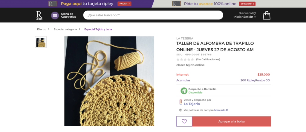 Ficha de producto de Ripley, con el producto a la izquierda y botones de compra a la derecha.