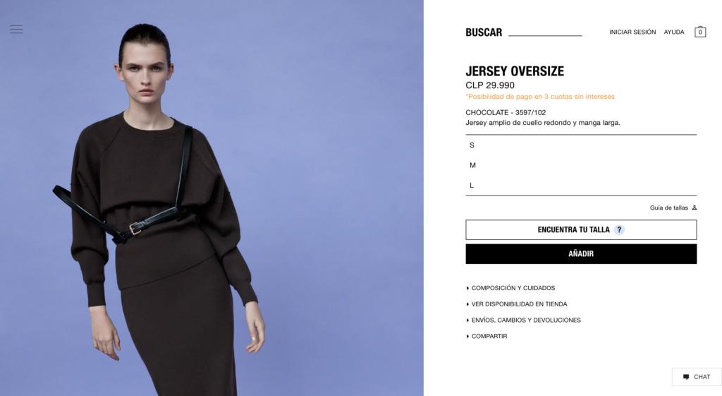 Ficha de producto de Zara, con productos a la izquierda y botones de compra a la derecha.