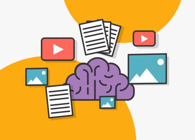 un cerebro rodeado de contenido que representa la infoxicación
