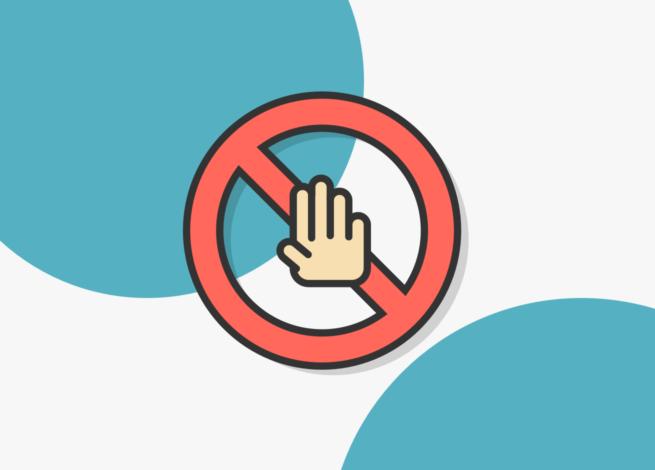 Mano con un símbolo de prohibido, que hace referencia a decir No