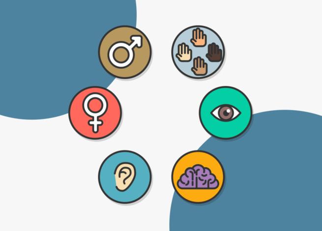 seis íconos que nos muestran algunos aspectos a tener en cuenta para un diseño que aboga por la inclusión.