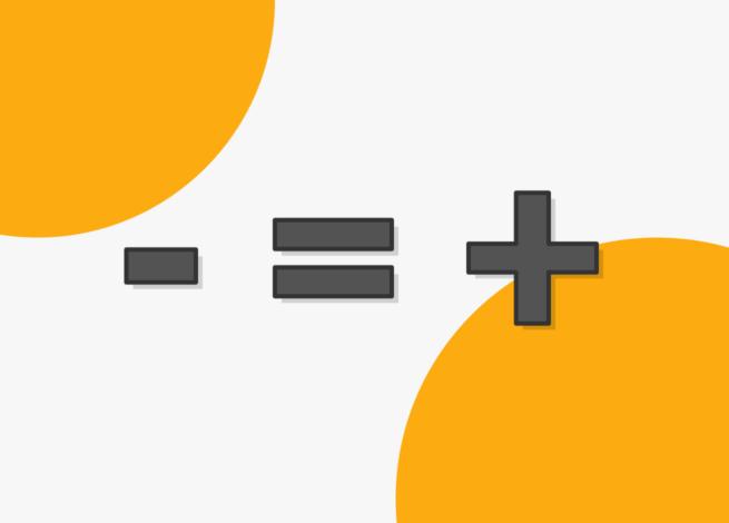 Un símbolo menos, igual a más, simboliza el diseño minimalista.