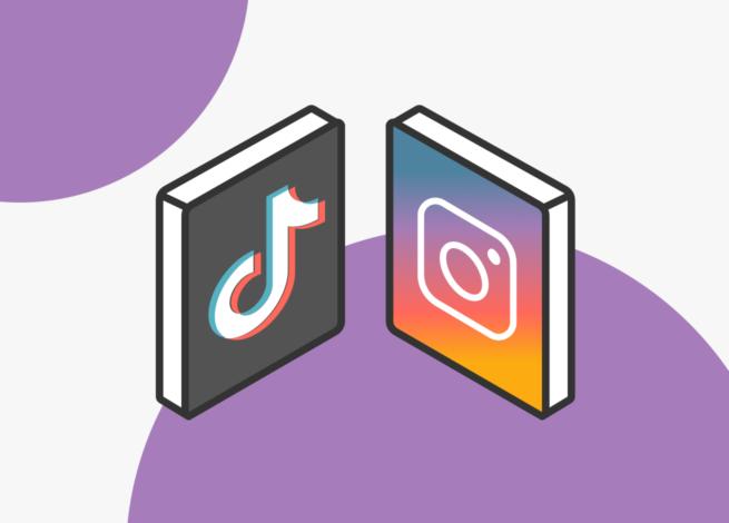 Ícono de Tik Tok y el de Instagram frente a frente.