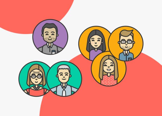 Diferentes usuarios en burbujas reflejan la importancia de la segmentación de datos.