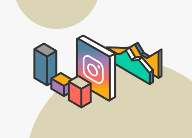 Logo de instagram rodeado de gráficos que reflejan su posicionamiento