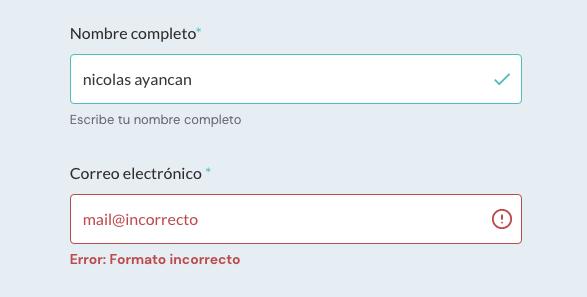 Placeholders y labels que muestran ejemplos y mensajes de error.