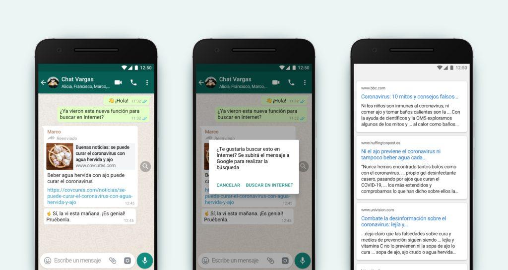Nueva herramienta de WhatsApp permite verificar si un mensaje reenviado se trata de una fake news.