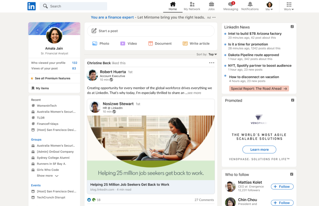 Interfaz renovada de LinkedIn.