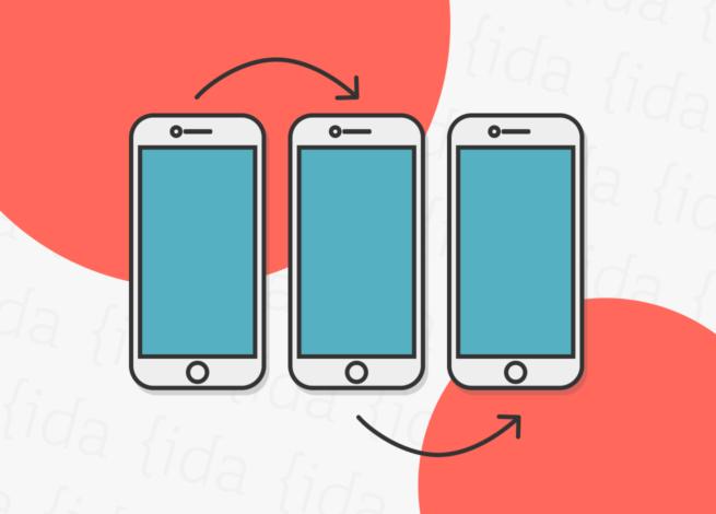 tres teléfonos móviles que nos reflejan un onboarding.