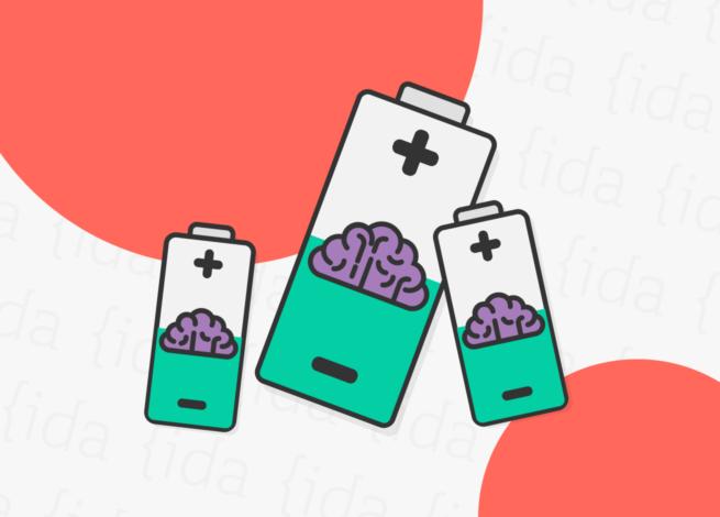 Tres pilas que se muestran a media capacidad y con un cerebro dentro de cada una de ellas, lo que demuestra la carga emocional en los procesos de research.