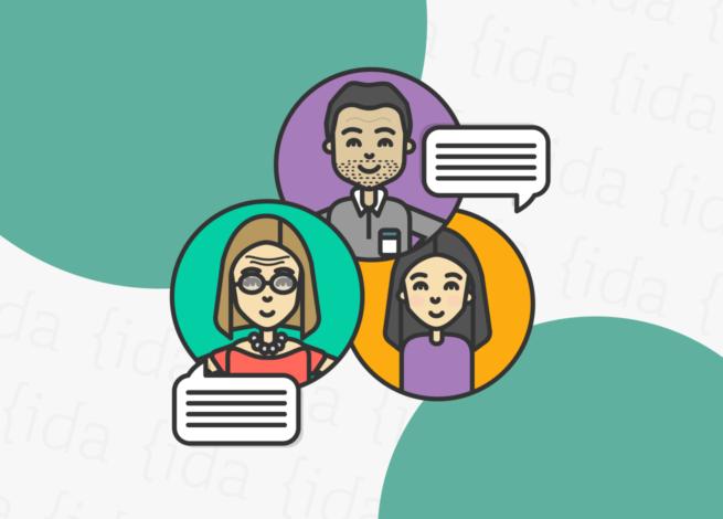 Tres personas conversan entre sí a pesar de la distancia. Las comunidades virtuales son muy importantes en este contexto global.