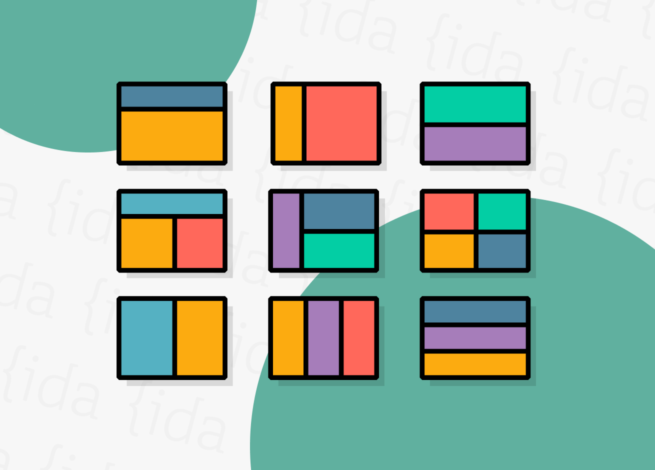 Nueve cuadrículas de diseño, las cuales nos muestran las guías visuales que nos permitirán estructurar nuestros contenidos.