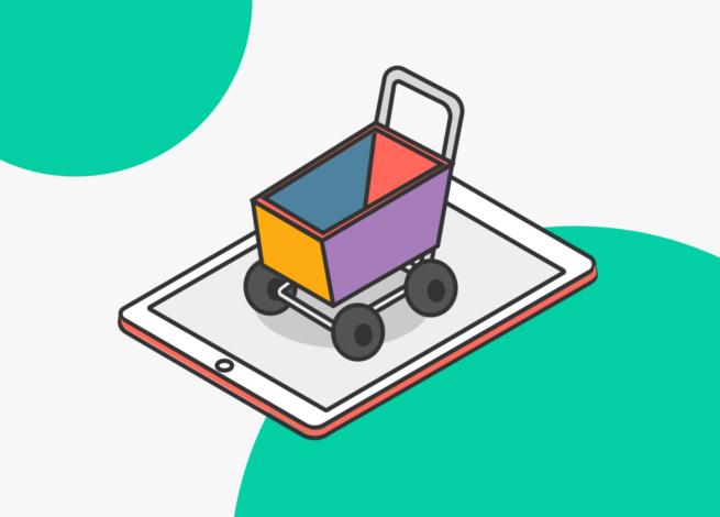 Un carro de compras encima de una tablet, lo que refleja el comercio online en el marco del CyberDay 2020.