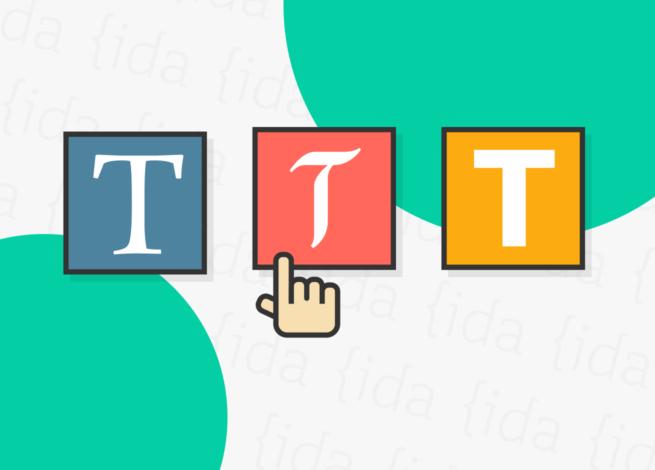 tres tipos de tipografía y una mano nos indica cuál escoger.