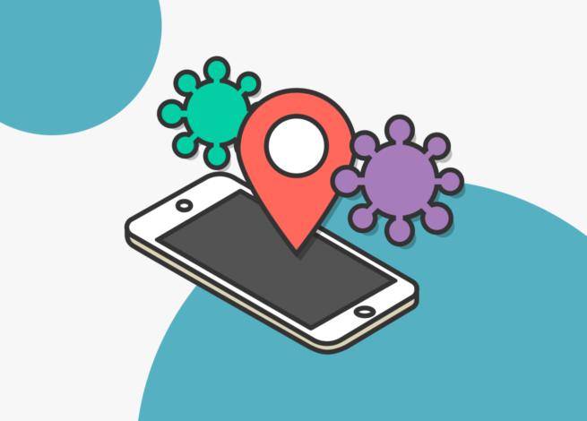 Smartphone con un punto de geolocalización que nos muestras las nuevas alternativas con las que Google buscará frenar el avance de la Covid-19.