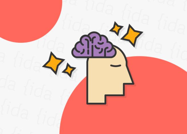 Cabeza de una persona con un cerebro afuera, el cual tiene brillos a su alrededor. Esto refleja las mejoras en la concentración.